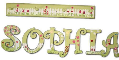 Wooden Wall Pegs - White Fence (letters sold separately)
