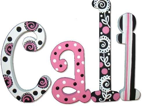 Pretty Pink N Black Hand Painted Wall Letters