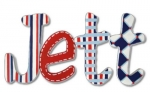 Red White and Blue Jett Hand Painted Wall Letters