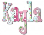 Pink Daisy Garden Too! Hand Painted Wall Letters