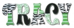 Green Zebra Hand Painted Wall Letters