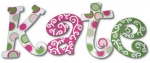 Pink and Green Twister Hand Painted Wall Letters