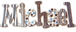 Little Boy Blue and Brown Hand Painted Wall Letters