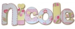 Pink Butterfly Garden Hand Painted Wall Letters