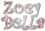 Roses for Zoey Hand Painted Wall Letters