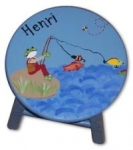 Hand Painted Wooden Stool - Boy Fishing