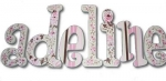 Pink and Brown Vintage Floral Hand Painted Wall Letters