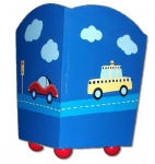 Painted Wood Trashcan - Cars