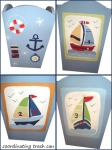 Painted Wood Trashcan - Nautical