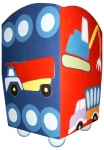 Painted Wood Trashcan - Trucks