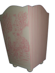 Painted Wood Trashcan - Toile and Stripes