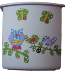 Painted Plastic Trashcan - Hayley Owls