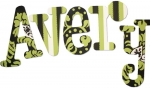 Green and Black Damask Painted Wall Letters
